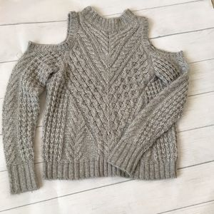 Express Cold Shoulder Cable Knit sweater